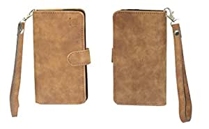 J Cover A9 CLASSIC Leather Carry Case Cover Pouch Wallet Case For Samsung Grand 2 Dark Tan