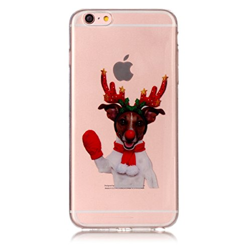 Noël Coque iPhone 6 / iPhone 6s 4.7 inch LifeePro Ultra Mince Transparent Doux TPU Gel Silicone Antichoc Anti-rayures Full Body Étui Housse de Protection Christmas Cover pour iPhone 6 / iPhone 6s 4.7  Red Gloves Elk