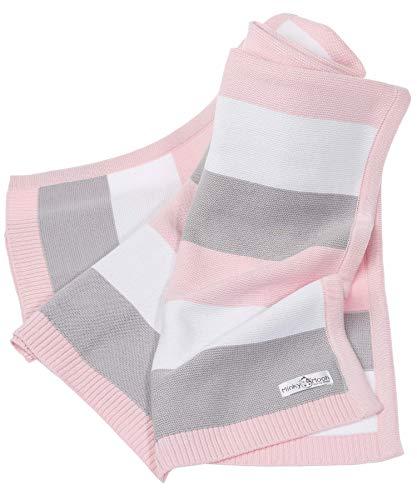 Sommer Babydecke aus 100% Bio Baumwolle | Ideal als Erstlingsdecke, Puckdecke oder Kuscheldecke | Strickdecke | 90 x 70 cm (Rosa, 90x70) - Minky Grau Stoff
