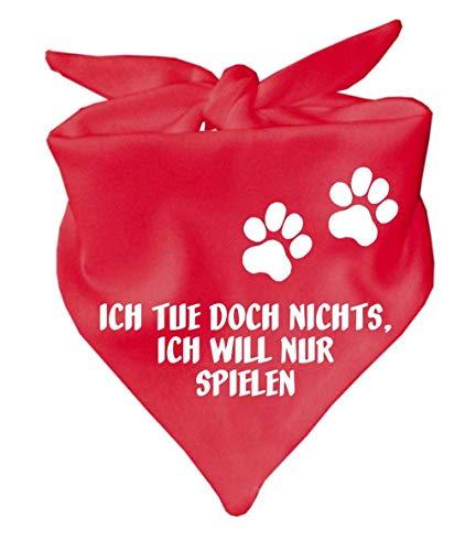 KLEINER FRATZ Hunde Dreiecks Halstuch (Fb: rot) (Gr. 1 (55 cm)) Ich tue doch Nichts ich Will nur Spielen