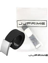 WSS – Noir Unisexe réglable Interception de tissu de coton Toile Ceinture  Style armée Combat en toile Boucle… 42a4e152af0