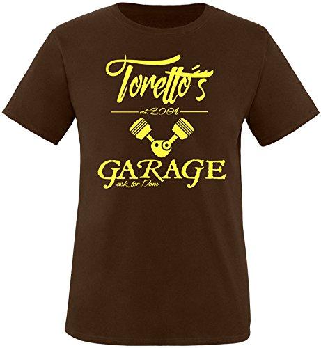 EZYshirt® Toretto´s Garage Herren Rundhals T-Shirt Braun/Gelb