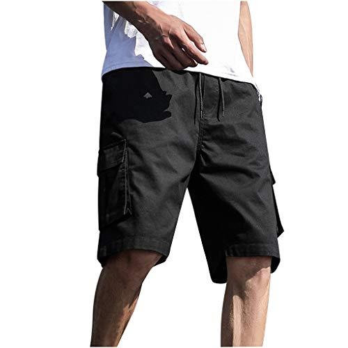 ZHANSANFM Herren Unifarben Shorts Bermuda Cargo Kurze Hose Basic Casual Fitness Strandshorts Outdoor Taschen Urlaub Freizeitshorts Mode Retro Regular Fit Elegant Sommer (7XL, Schwarz)