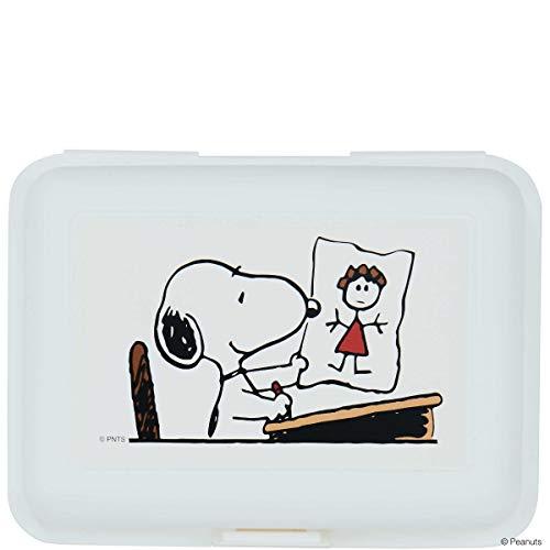 dose Snoopy in der Schule 17,5x12,8x6,9 in Weiß mit Comic-Druck - Vorratsdose mit Deckel, Brotbox ()