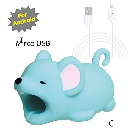 TAOtTAO Mrico USB & Type C Datenzeilenkombination Datenkabel enthalten Kabel-Schnur-Schutz-Schutz-Unterstützung, prevently kreatives nettes Tierkabel-Biss für iPhone Kabel-Schnur-Telefon-Zusatz schützt (C, Mrico USB(Weiß))
