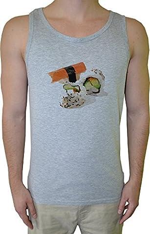 Sushi Homme Débardeur T-Shirt Gris Coton Men's Tank T-Shirt