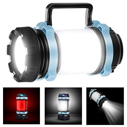 EXTSUD Multifunktionale Camping Lampe Tragbare LED Camping Laterne Helle Suchscheinwerfer Led USB Lampe Taschenlamp 4400 mAh wiederaufladbare Power Bank für Nachtfischen,Jagen