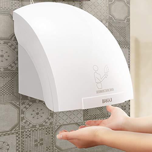 BAKAJI - Toallas automáticas eléctricas para Hotel - Secador de Manos de Aire Caliente de Pared - Baño con Sensor fotocélula