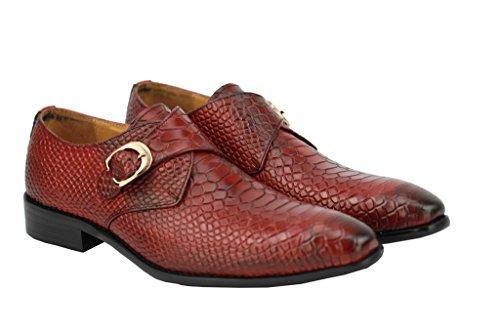 Herren Echt Leder Krokodil Haut Effekt rot blau Mönch Schuhe rutschfest auf Smart-Slipper Rot