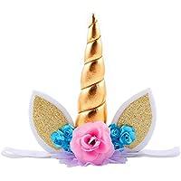 Missley Corona de Flores Artificiales de Niñas Diseño con Unicornio Decoración de Pelo para Fiesta de Halloween Carnaval Adultos