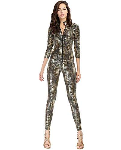 DuuoZy Sexy Leder-Schlange-Haut-Druck jumpsuits Catsuit Cosplay Club Frauen tragen , (Kostüm Ideen Zentai Anzug)