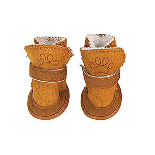 Kalaokei Regolabile Cane Inverno Caldo Neve Stivali Protettiva Antiscivolo Scarpe Cane Zampa Protezioni Stivali per Piccole e Medie Cani, Confezione da 4