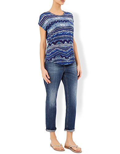 Monsoon Damen Karolina kurzärmeliges T-Shirt mit Print Marineblau