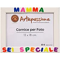 Cornici per foto in legno con la scritta Mamma Sei Speciale, da appoggiare o appendere, misura 13x18 cm Bianca. Ideale per regalo e ricordo.