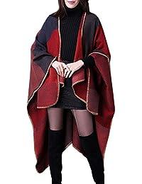 Aivtalk - Poncho de Mujer Suave para Invierno Entretiempo Cárdigan de Punto Capa de Tamaño Grande Elegante Calentito Diseño Simple 135 x 155 CM