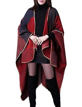 Aivtalk - Poncho de Mujer Suave para Invierno Entretiempo Cárdigan de Punto Capa de Tamaño Grande Elegante Calentito...