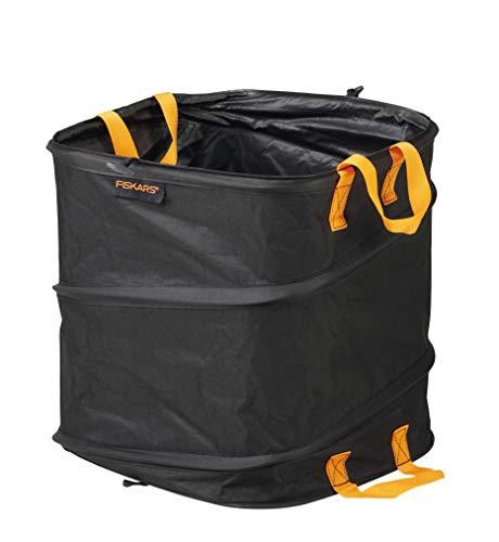 *Fiskars PopUp-Gartensack mit Griffen, Platzsparend faltbar, Fassungsvermögen: 73 L, Höhe: 46 cm, Breite: 40 cm, Schwarz/Orange, Ergo, 1028371*