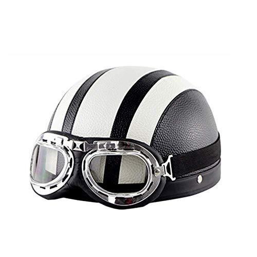 MIANCY-Outdoor Retro Harley Helm Motorradhalbhelm - Persönlichkeit Open Face Lederhelm inklusive Visier/Brille (schwarz),White