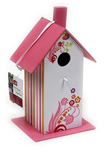 Buntes Vogelfutterhaus aus Holz / Pink / 25 x 12 x 14 cm / Nistkasten
