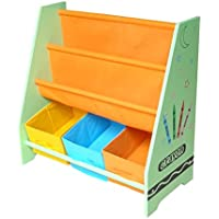 Kiddi Style Children's Crayon Wooden Storage Rack/Sling Bookcase, Green