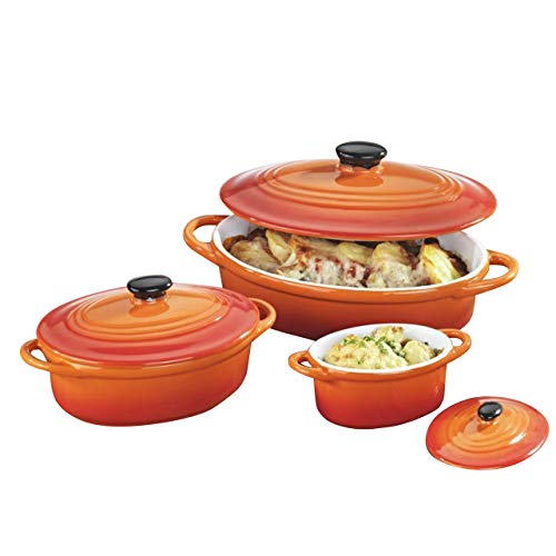 6-tlg. Auflaufformen SET mit Deckel - oval, hochwertige Keramik, orange, 600/200/100 ml, für Backofen Mikrowellen geeignet, spülmaschinengeeignet