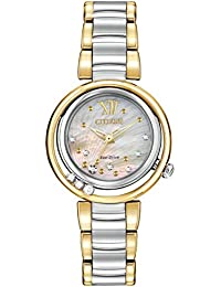 Citizen L Sunrise Diamond Women's Quartz Watch with Mother of Pearl Dial Analogue Display and Silver Stainless Steel Plated Bracelet