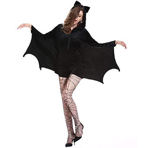 Demarkt Halloween Cosplay Kleidung Erwachsene Fledermäuse Overall Damen Schwarz XXL