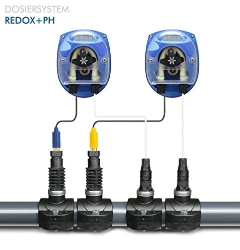 GT Set SEKO CHLOR/REDOX - PH DYNAMIK Pool Automatische Dosieranlage für Schwimmbäder Pool mit Elektroden und komplettem Zubehör und 2 x Sauglanze DIN61 x 480 mm für 25 Liter Kanister