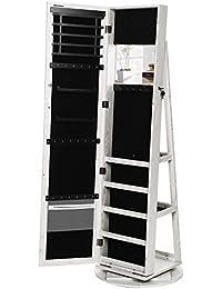 Songmics Schmuckschrank Spiegelschrank abschließbar um 360° drehbar mit Leiterregal JBC62W