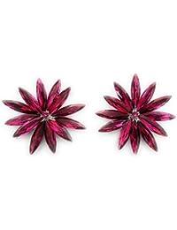 d60ad77ae5ab Pendientes Cristales Colores Mujer Fiesta Boda Pendientes Elegantes con  Forma de Flor y Dorso Chapado Plata