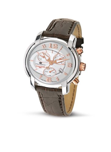 Philip Watch - R8271650045 - Montre Mixte - Quartz Analogique - Chronographe - Bracelet en Cuir Marron