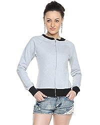 Campus Sutra Grey Womens Zipper Jacket with Contrast Details (AW15_ZHBDR_W_PLN_GRBL_M)