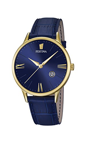 Festina Men's Quartz Watch with Blue Dial Analogue Display and Blue Leather Strap F16825/3