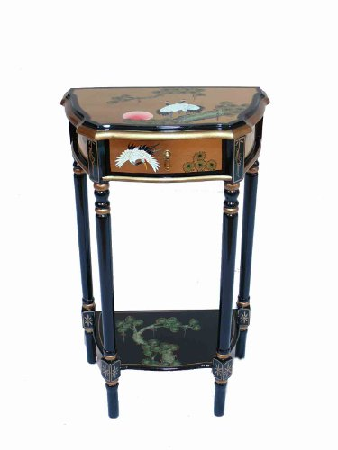 Lacquered Gold Leaf with Cranes Table Chinese Oriental Furniture