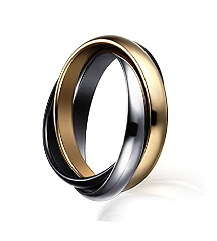 Womens Womens Stainless Steel Russian Tri-color Interlocked Trinity Ring for Wedding Engagement Promise,UK Size L 1/2-T