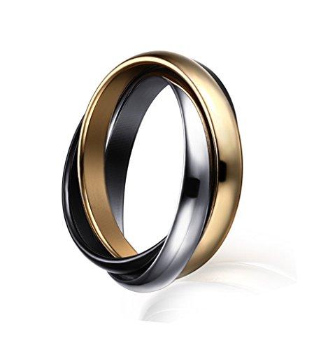 Vnox Frauen Edelstahl russischen Tri-color verschachtelte Trinity Ring für Hochzeit Engagement Versprechen (Ring Für Immer Versprechen)