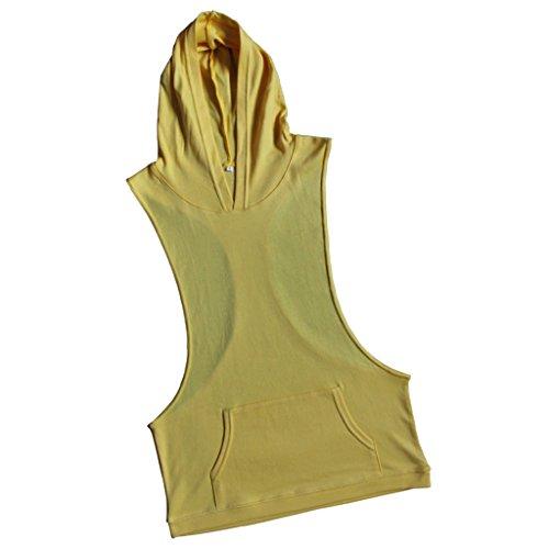 Baosity Uomini Canotta Gilet Top T-shirt Con Cappuccio Camicie Palestra Sportivo Giallo