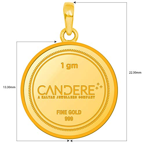 Candere by Kalyan Jewellers 1.30 Gms 24k (999) Yellow Gold Ganesh gold coin Pendant for Women