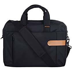 Dussledorf Polyester Flapover Style Messenger Shoulder Bag Case Cover Briefcase for 11-15.2 Inch MacBook Pro, MacBook Air, Notebook Computer, Black