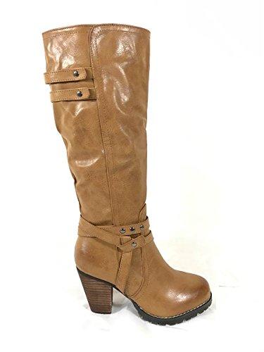 Mesdames Femmes Mid talon bloc Basse Mollet Genou Haut à fermeture éclair équitation Bottes Chaussures - Tan (1255)