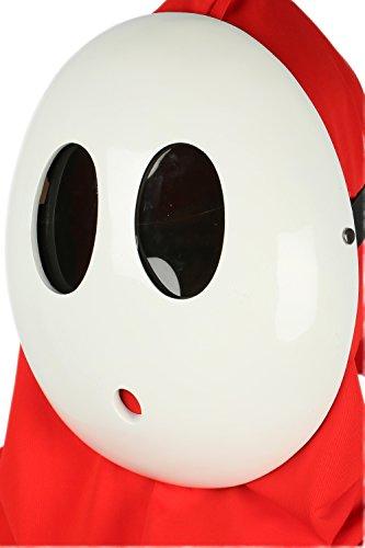 DealTrade Mario Shy Guy Maske Weiße Kostüm Einstellbar Kawaii Nette Vollgesichts Unisex Spiel Cosplay Halloween Merchandise Zubehör für Erwachsene