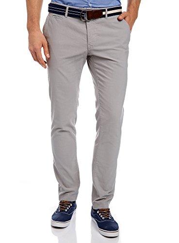 oodji Ultra Uomo Pantaloni Chino Slim Fit, Grigio, IT 44 / EU 40 / M