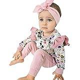 LEXUPE Neugeborene Kinder Baby Mädchen Outfit Kleidung Blumendruck Langarm T-Shirt + Hose Set(Rosa,100)