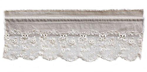 Bistrogardine Leinen mit Baumwolle Spitze geblumt Shabby Chic Vintage Creme (40H x 35B cm)