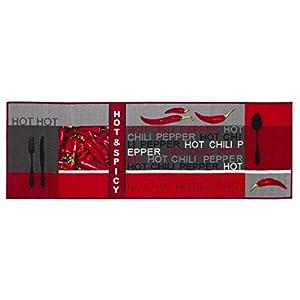Teppichläufer Küchenläufer Chilidesign Chililäufer Küchenteppich - Wohnzimmer Eingangsbereich Flur Küche - Hot & Spicy - gekettelt strapazierfähig pflegeleicht - 67 x 120 cm rot