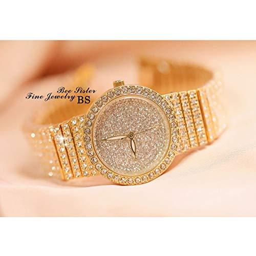 Hswt Damenuhr Quarzuhr für Frauen Mode Volle Strass-Handgelenksdekoration Gypsophila Trend Wasserdicht Edelstahl-Uhrenzubehör,Gold