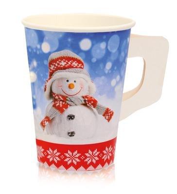 1.000 Stück Hartpapierbecher mit Griff Pappbecher Thermobecher Motiv 0,2 l # Glühweinbecher # Weihnachtsmarkt # Weihnachtsfeier # extra dickwandige Becher für Heißgetränke wie Punsch, Glühwein, Kaffee, Tee, ...