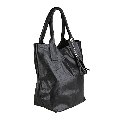 Chicca Borse Frau Handtasche Shopper in echtem Leder Made in Italy 39x36x20 Cm Schwarz