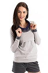 Milchshake - Umstands-/Stillshirt - Langarm - Greta- grau - Größe XL