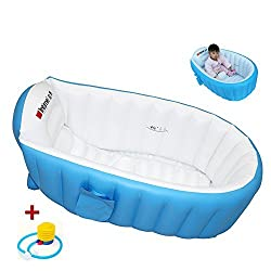 Locisne Baby Soft BathTub Children Inflatable Anti-slippery Swimming Pool Foldable Travel Air Shower Basin Seat Baths Big Size(For 0-3 Years) + air pump